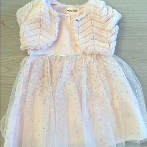 Toddler pink tulle dress with faux fur bolero.